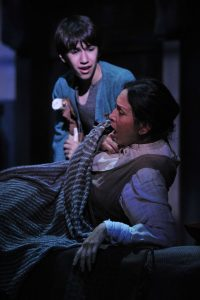 Susanna Guzman and Caleb Glickman Amahl tries to defend his mother after she takes the Kings' gold